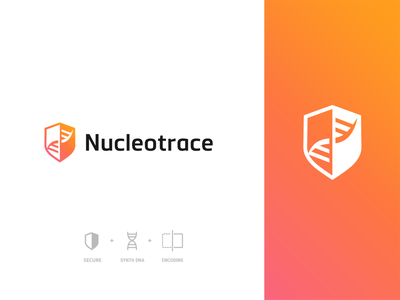 Nucleotrace brand concept science branding gradient secure shield dna vector logo