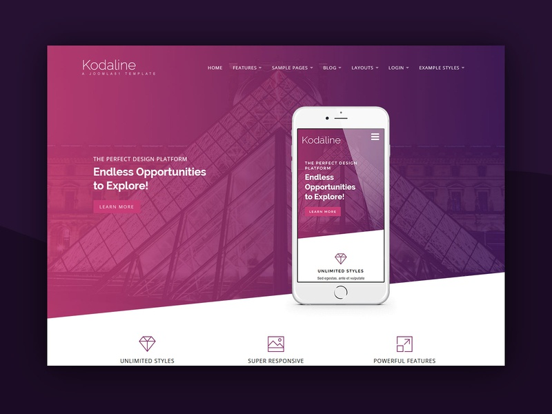 J51 Kodaline - A Joomla Template purple theme design web design template template design webdesign joomla templates joomla template joomla designs joomla