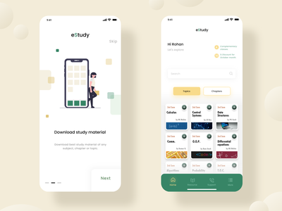 eStudy : E Learning App UI Design iphone education home screen home page walkthrough elearning user experience user interface application minimal app design app ux ui  ux ui design