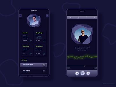 """Flamingo"" Music App User Interface Design ui design music player music app music designers neumorphism neumorphic dark theme dark ui application app design app ux ui  ux ui design"