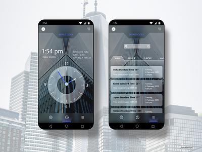 World Clock App User Interface Design world clock watch time clock user interface user experience application app design app web ux ui  ux ui design