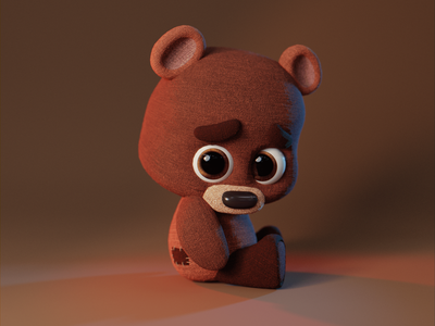 cute little bear character characterdesign 3dart design blender3d 3dmodeling digitalart digital3d 3d blender