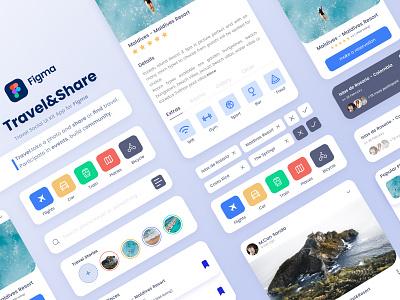 Travel&Share App UI mobile app clean figma mobile web desktop ux ui mobile design travel ui travel travel app