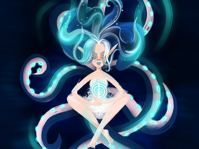 Digital 2d illustration of a lady with octopus tentacles
