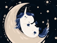 Unicorn and moon - digital illustration.