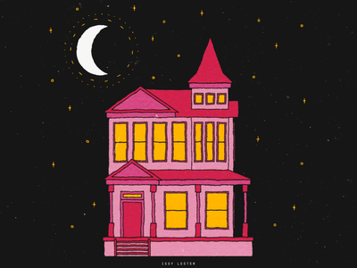 little old house victorian night house paper texture vector illustration