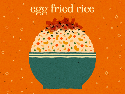 egg fried rice rice egg fried rice food illustration food paper texture vector illustration