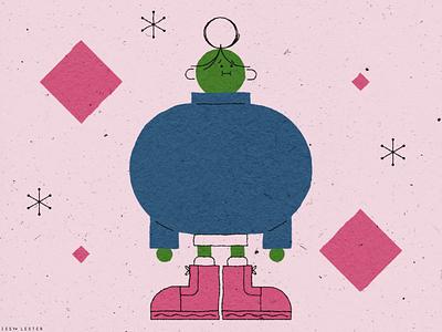 Green girl boots girl illustration pink girl character girl character characterdesign cute character design vector paper texture illustration