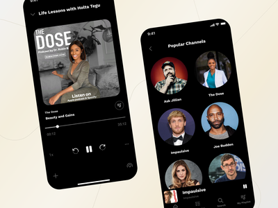 Podcast App Design — Sociallite desing modern brand ui ux simple clean dark ui song onboarding music player podcast app photo cocept