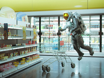 My quarantine computer graphics shopping kart beverage food astronaut supermarket mall b3d blender3d blender cgart 3d art photoshop lighting cgi illustration cg 3d