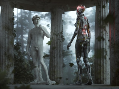 Origins mood foggy robot futuristic michelangelo david humanoid b3d blender3dart blender3d blender shading cgart 3d art photoshop lighting cgi illustration cg 3d