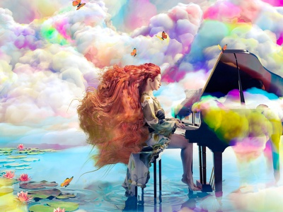 Goldfish symphony color colours clouds piano music blendercycles blender3dart blender3d blender shading integration cgart 3d art photoshop lighting cgi illustration cg 3d