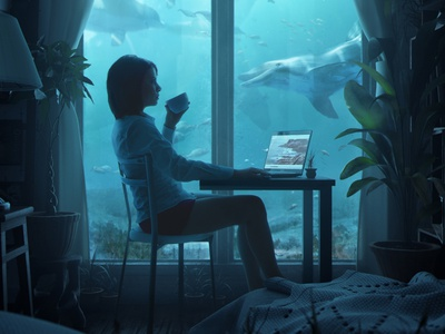 Under the blue sea dolphins nature chilling relax artwork underwater blue b3d blender3d blender shading integration cgart 3d art photoshop lighting cgi illustration cg 3d