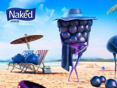 Naked juice - contest pt. 1 integration illustration sun beach sand cg 3d blue fruit naked advertising