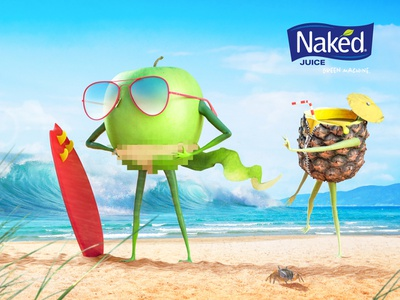 Naked juice - contest pt. 2 sun sand naked integration illustration fruit cg cool beach advertising 3d