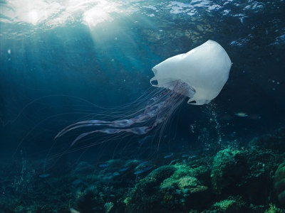 plastic jellyfish jellyfish ocean earth planet microplastic underwater blender shading cgart 3d art photoshop integration lighting cgi illustration plastic bag computergraphics cg 3d plastic