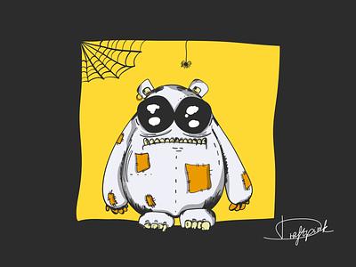 OwnCreature #1 / Lionel piercing spooky little monster little cute monster lionel ipadproart ipadpro draftpink bear yellow spider horror digitalart draw own creature monster vector design