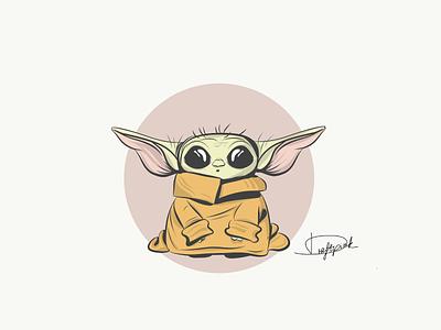 Grogu character illustration fanart mandalorian illustrator draw disney yoda baby grogu star wars adobeillustator vector illustration design