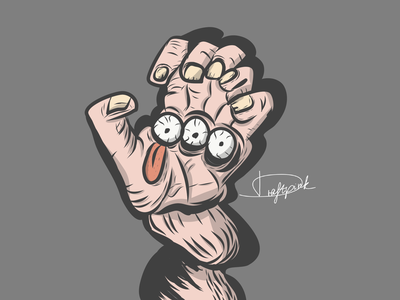 The three-eyed nails nail fear human body human angry hand drawn tounge eye hand vector illustration design