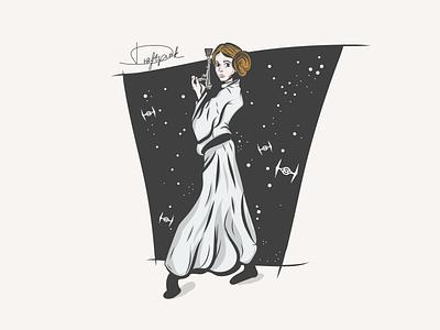 Princess Leia gun woman galaxy star draftpink leia organa leia skywalker skywalker dark spaceship ship space stars princess princess leia leia star wars starwars illustration vector