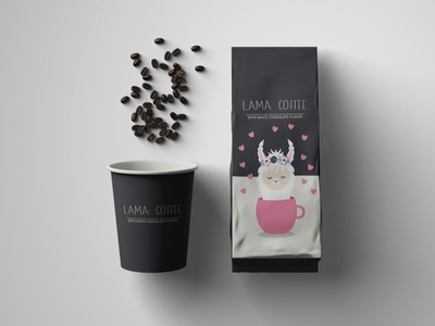 Design Packaging for a Fictional Brand - Dribbble Weekly Warm Up chocolate lama coffee packaging coffee cup coffee branding dribbleweeklywarmup vector illustration design adobeillustator