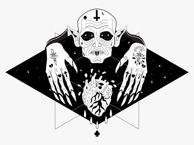 Nosferatu/ Design Something Spooky- Dribbble Weekly Warm-Up dribbble weekly warm tattoo halloween scary blood vampire nosferatu horror vector illustration design adobeillustator