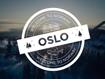 Oslo-Dribbble Weekly Warm-Up dribbble weekly warm-up cold sky star pine trees house whale city destination travel norway oslo stamp vector design adobeillustator