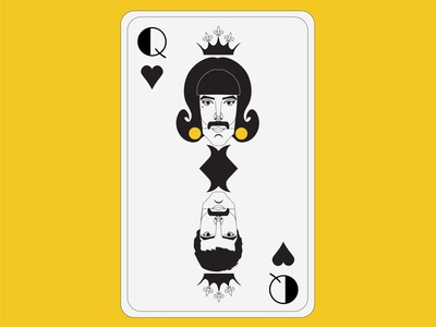 Playing Card / Queen-Dribbble Weekly Warm-Up artist singer french card french card yellow freddie mercury queen playingcards playing card typography dribbbleweeklywarmup vector illustration design adobeillustator