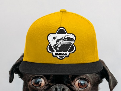 Mission patch / Dribbble Weekly Warm-Up pet universe spaceship yellow cap rebel star wars galaxy space patch pug dog branding design vector illustration adobeillustator