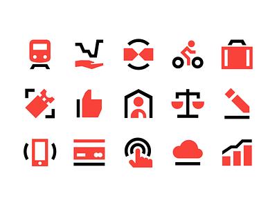LTG icons solid iconography design symbol railways branding andstudio vector iconset icons