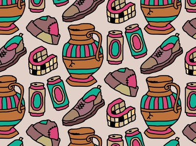 """ANCIENT JUNK"" Seamless pattern"