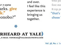 "Yale Daily News Magazine redesign prototype, ""Overheard"" 2"