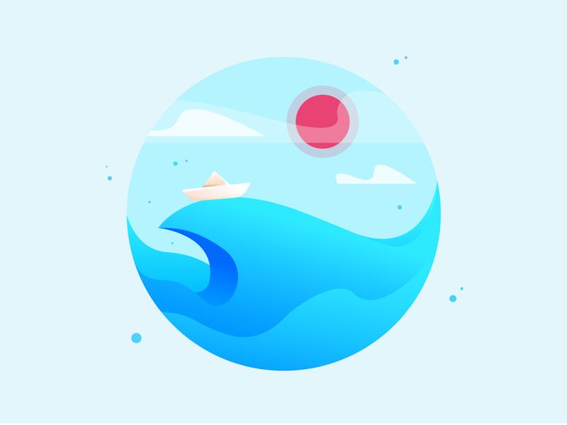 Paper Boat sun boat sea vector graphic illustration