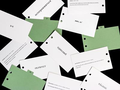 Archive of Untranslatable Words books print translation language cards green minimal typography