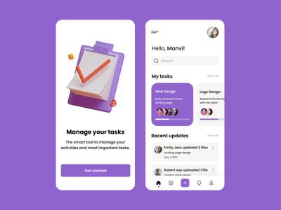 Task Management App app design mobile app design mobile design task management task app uiux mobile ui app mobile clean ux minimal flat ui design