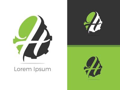 letter H monogram vector logo design.