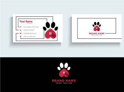 Dog Paw vector logo and business card.
