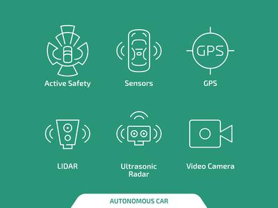 Autonomous car icons
