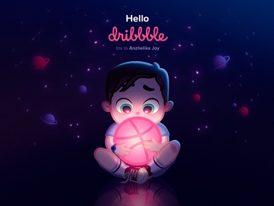 Hello dribble! shot space hello dribble dribbble illustration child