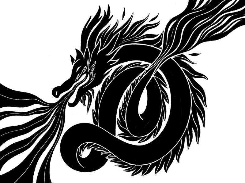 Dragon ink drawing type drawn typography lettering artist type art type lettering inktober