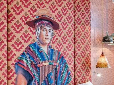 HEADBOARD DESIGN FOR SOUTH WEST ROOM muralist digital art collage art mural design mural hotel hoteldesign collageart collage art