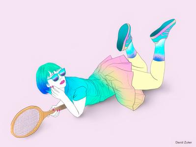 Match colorful portrait woman art tennis drawing illustration