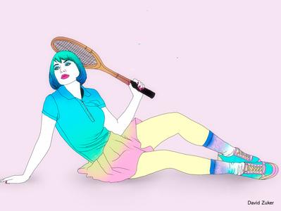 Match (part 2) pop woman illustration woman portrait illustration art illustrator colorful pastel woman tennis illustration art