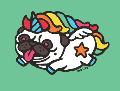 Pug unicorn Art Print