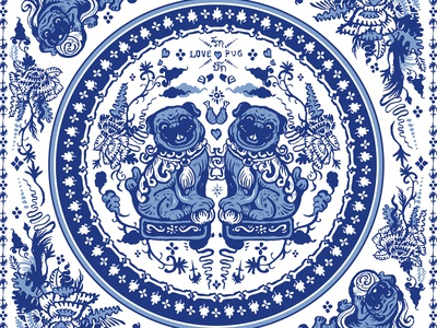 Pugs in Chinese Porcelain