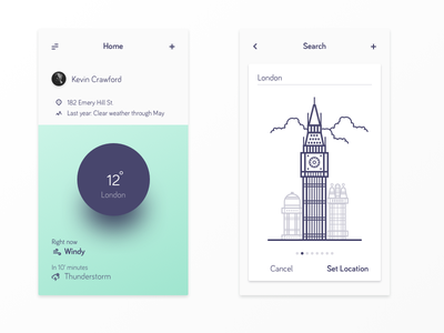 Weather App material mobile menu navigation ios app gradient flat card clouds london vector illustration ui ux