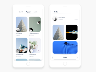 Unsplash Concept ios app ui ux photography minimal navigation mobile menu pastel flat clean card app