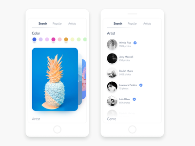 Unsplash 2.0 app card clean flat pastel menu mobile navigation minimal photography ui ux ios app