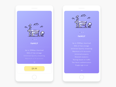 Pricing ui ux illustration vector pricing clouds card flat gradient ios app menu navigation mobile material