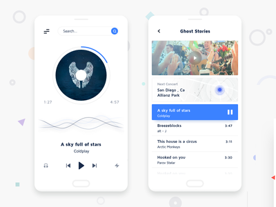 Music Player app card clean flat map mobile navigation minimal music ui ux ios app player